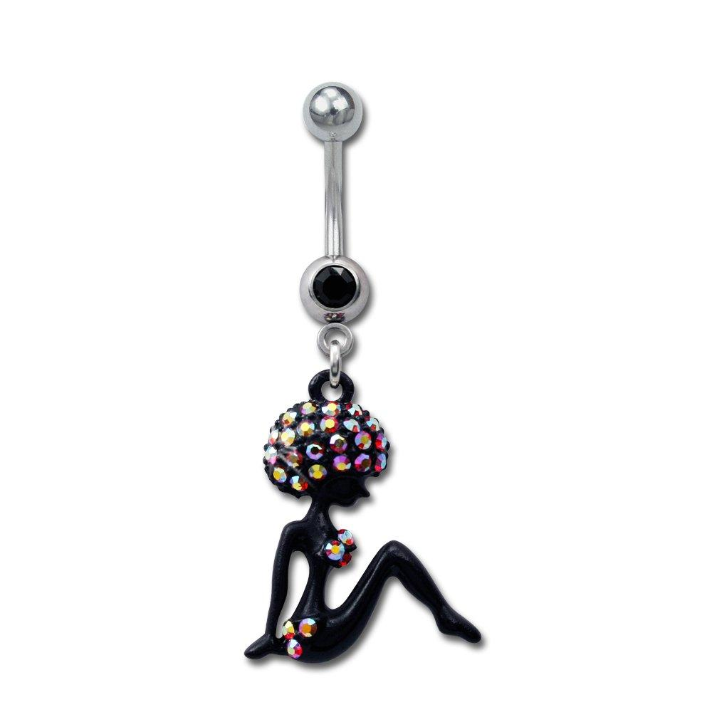 Stainless Steel Piercing Belly Bar African Girl (cod.TBPN JET)