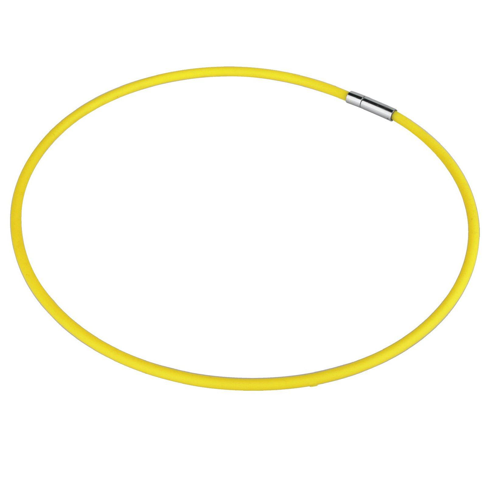 Yellow Rubber and Stainless Steel necklace