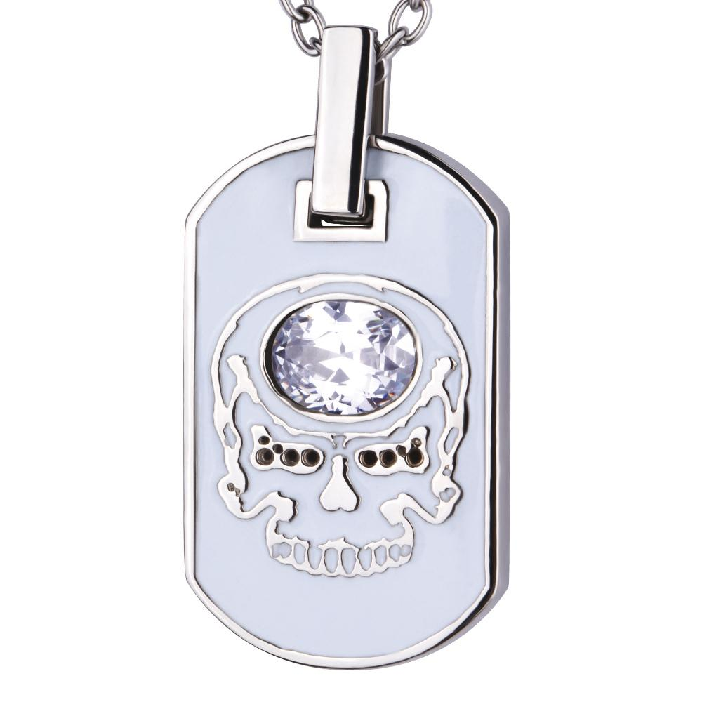 Stainless Steel Pendant and crystal *Skull* white