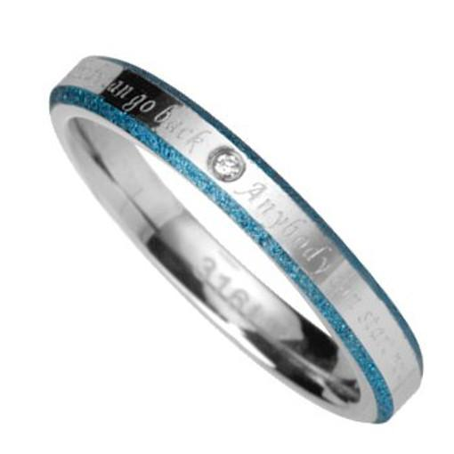 Stainless Steel Ring with blue sand effect *New Life*