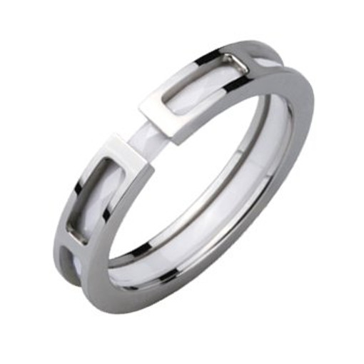 Stainless Steel and white Ceramic Ring *Future*