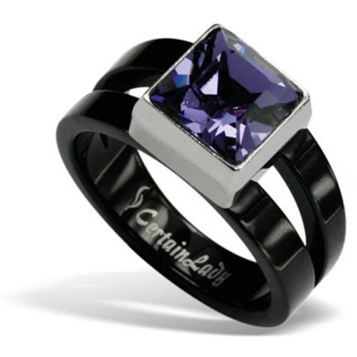 Stainless Steel black Ring with purple  Swarovski *Passione*