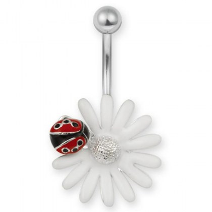 Stainless Steel Piercing Belly Bar  (cod.TBFL10)