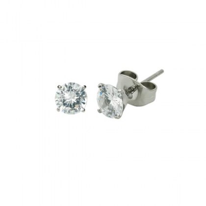 Stainless Steel Earrings with white crystals 4mm (cod.ESJ02 CRYSTAL)
