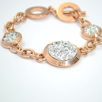 Stainless Steel Bracelet gold color with white crystalsi *Oracle*