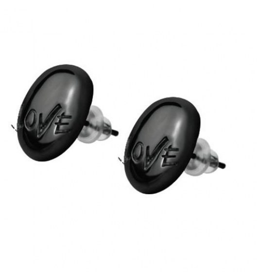 Stainless Steel Earrings black PD *TEEN LOVE*