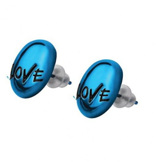 Stainless Steel Earrings blue PVD *TEEN LOVE*