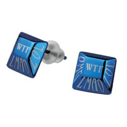 Stainless Steel Earrings blue PVD *WTF*