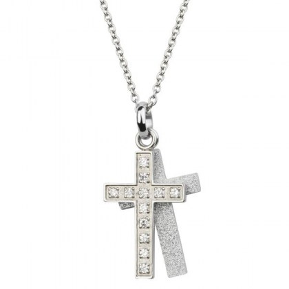 Stainless Steel Pendant sand effect ad crystals *Faith*