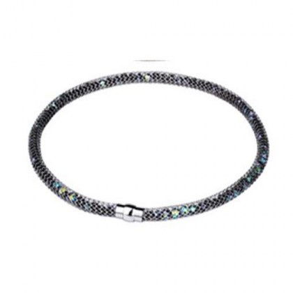 Stainless Steel Necklace black with whote crystals *Saturn*