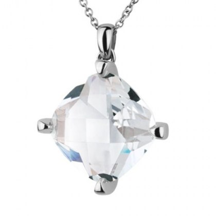 Stainless Steel Pendand with white glass *Hypnotique*