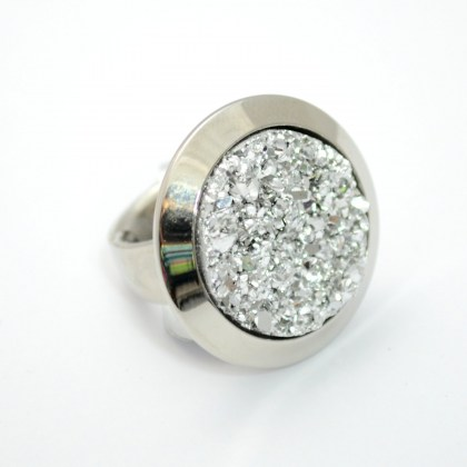 Stainless Steel Ring with white crystals *Oracle*