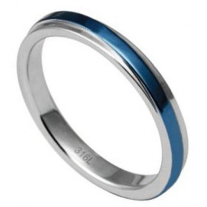 Stainless Steel Ring blue color *Emozioni*
