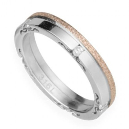 Stainless Steel Ring rose gold  sand effect and crystal *FEELING*