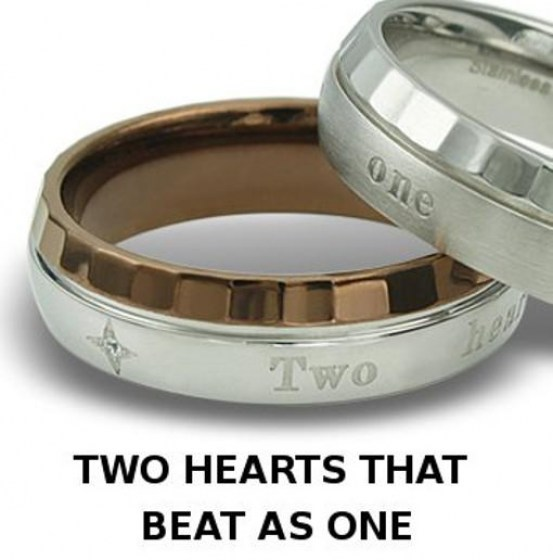 Stainless Steel Ring coffee color  *Two hearts that beat as one*