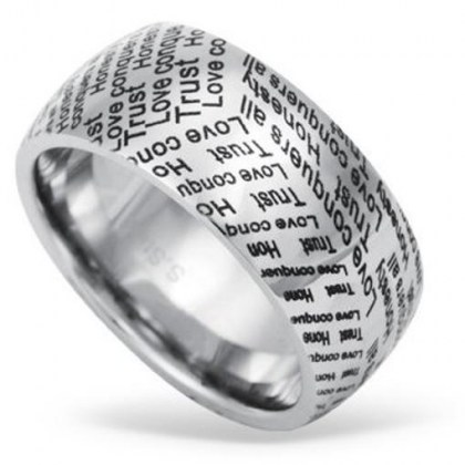 Stainless Steel Ring *Trust Honesty Love*