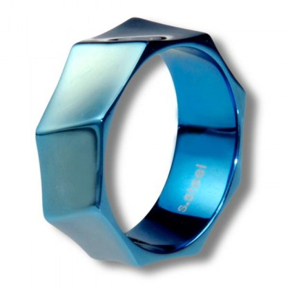 Stainless Steel Ring blue PVD *NEW VISION*