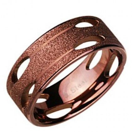 Stainless Steel Ring coffee sand effect *Sahara*