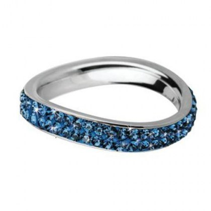 Stainless Steel Ring with blue  Swarovski Elements *Nostalgie*