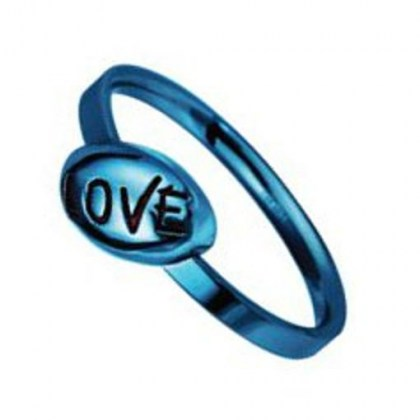 Stainless Steel Ring blue PVD *TEEN LOVE*
