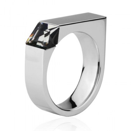 Stainless Steel Ring with Black Diamond Crystal *Avant-Guard*