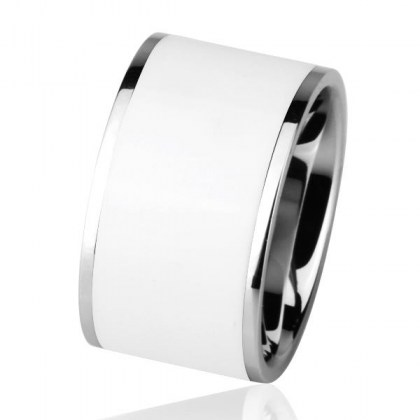 Stainless Steel Ring white PVD *Pianoforte*