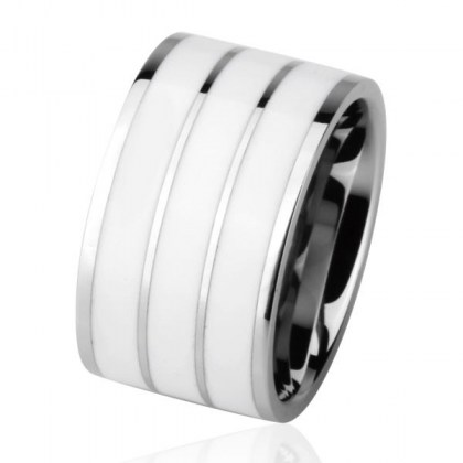 Stainless Steel Ring white *Pianoforte* 2