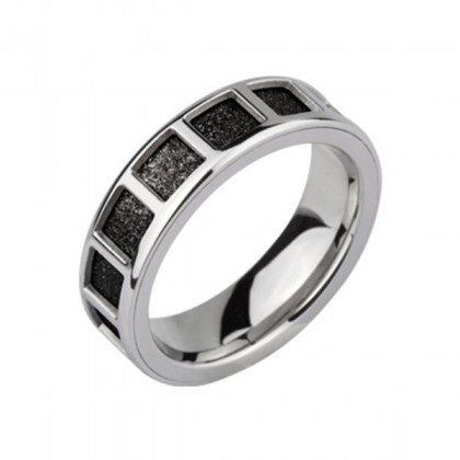 Stainless Steel Ring with black sand effect *Deux Ils*