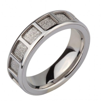 Stainless Steel Ring sand effect *Deux Ils*